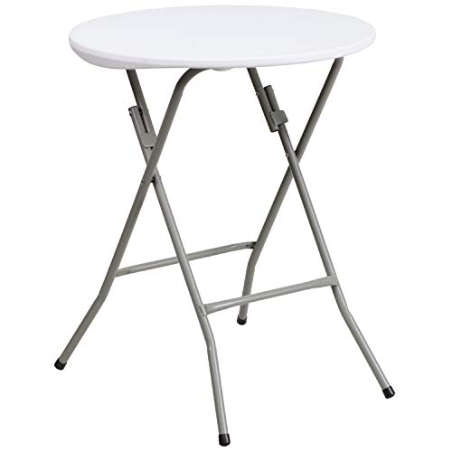 Flash Furniture 2-Foot Round Granite White Plastic Folding Table - DAD-YCZ-80R-1-SM-GW-GG (High Plastic Table)