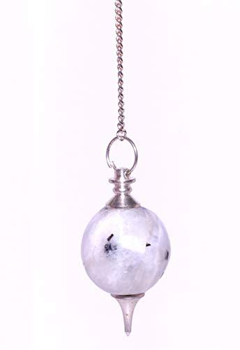 Healing Crystals India Natural Gemstone Sphere Chakra Divination Reiki Metaphysical Dowsing Pendulum w/Chain, Rainbow Moonstone
