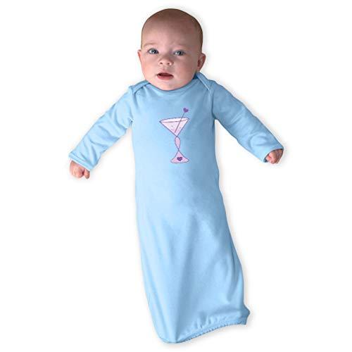 Cancer Martini Purple Long Sleeve Envelope Neck Boys-Girls Cotton Newborn Sleeping Gown One Piece - Light Blue, Gown & Hat Set