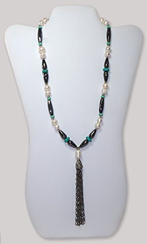 Women's Pearl, Turquoise, and Hematite Tassel Pendant Necklace