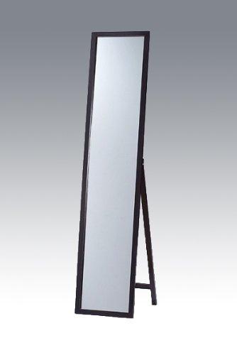 天然パイン材 木製スタンドミラー ブラック(黒) 幅33cmx高さ150cm 全身 飛散防止 B006HQ5510ブラック