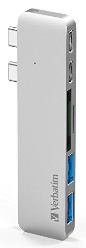 "Verbatim Aluminum Thunderbolt 3 USB Type-C Hub Adapter Dongle for 2016/2017 MacBook Pro 13"" & 15"". 1 Year Limited Warranty. Most Compact, Fastest 40Gbs TB3, USB-C, microSD/SD Card Reader, 2x USB 3.1"