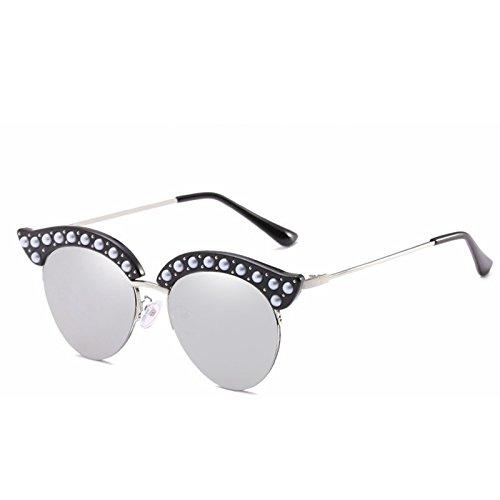 Moda señoras Gafas de la Las Medio de White de Personalidad de Sol Color Gafas Sol y Cuerpo la de Gafas de Europea de Americana Blue Sakuldes Silver Sol CnXqgwf1C