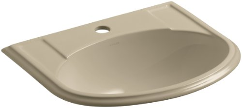 KOHLER K-2279-1-33 Devonshire Self-Rimming Bathroom Sink with Single-Hole Faucet Drilling, Mexican Sand