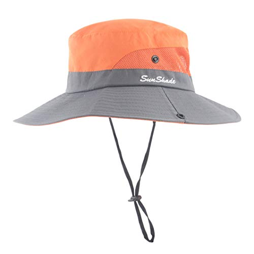 Women Outdoor Sun Hat UV Protection Wide Brim Mesh Foldable Safari Beach Fishing Bucket Cap Orange ()