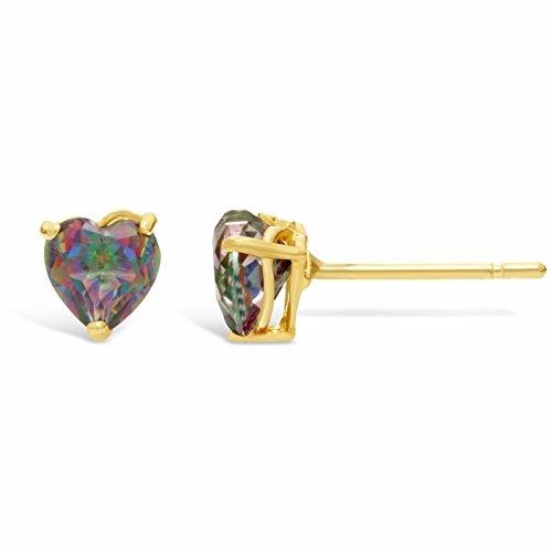 - 1.10 cttw Heart 5MM Mystic Topaz 14K Yellow Gold Stud Earrings
