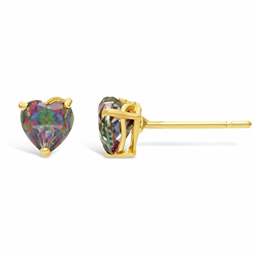 .60 cttw Heart 4MM Mystic Topaz 14K Yellow Gold Stud -