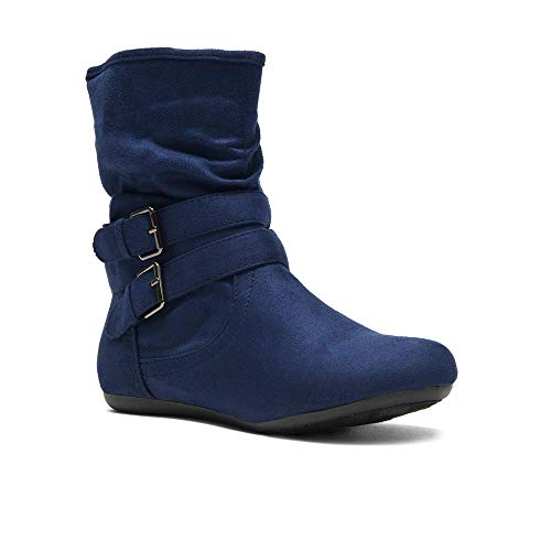 Herstyle Lindell Women's Fashion Flat Heel Calf Boots Side Zipper Slouch Ankle Booties Navy ()