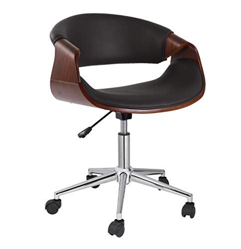 Porthos Home KCH032A BLK Adjustable Office Chair with 360-Degree Swivel, PVC Upholstery and Wheels Furniture Black One Size