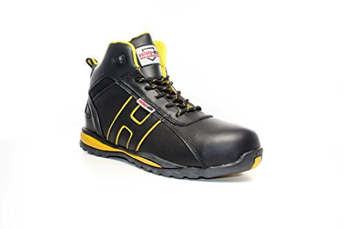 Steel Toe Suede Leather - Unisex Work Safety Trainer - EN Tested - SRA Rated Black / Yellow 9 UK by Safety-Site