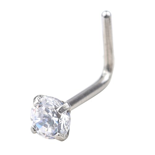 FORYOU FASHION 20G Stainless Steel 3mm Clear Color Diamond CZ Nose Stud Rings Screw L Shaped Nose Rings Studs Piercing Jewelry