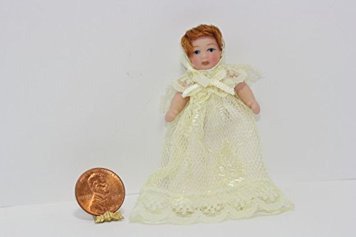 Dollhouse Miniature Red Brown Haired Baby Doll in a Creamy White Lace Dress (Baby Miniature)