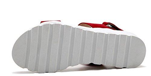 SHFANG Sandalias de las señoras Verano Fondo grueso Dew Toe Plano Bottom Pu Estudiantes Ocio Cómodo Tres Colores 5cm Red