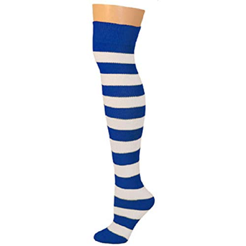 AJs Knee High Striped Socks - Blue/White