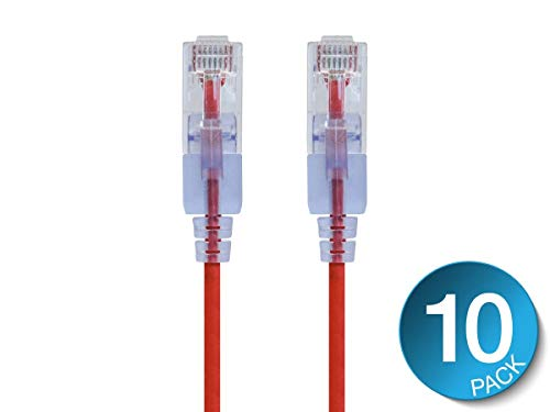 Monoprice Cat6A Ethernet Patch Cable- 14 feet- Red | Snagless RJ45 550Mhz UTP Pure Bare Copper Wire 10G 30AWG 10-Pack - SlimRun Series