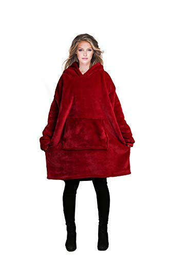 Reepow Hoodie Blanket, Oversized Sherpa and Flannel Sweatshirt with Large Front Pocket, Different Ultra Soft Texture, Warm Comfortable, for Men, Women, Teen Kids-Gift Box,Lovers Pack,Family Dress(Red)