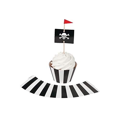 Fun Express - Pirate Party Cupcake Collars W/Picks for Birthday - Party Supplies - Serveware & Barware - Picks & Stirrers & Parasols - Birthday - 100 Pieces