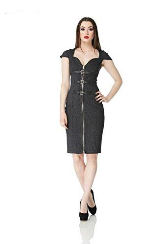 Voodoo-Vixen-Retro-50s-Vintage-Rockabilly-Pin-Striped-Buckle-Pencil-Dress