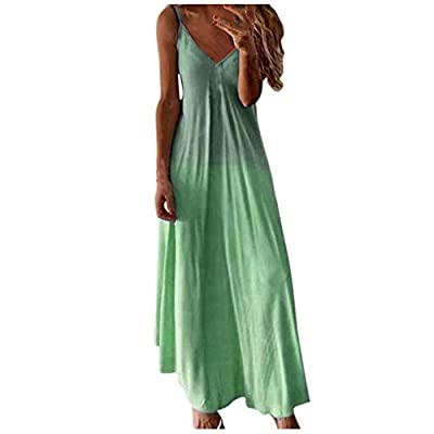 Xinantime Womens Gradient Maxi Dresses Casual Sleeveless Camisole V-Neck Print Maxi Tank Long Dress: Clothing