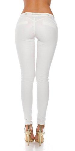 KouCla Lederlook Hose mit Spitze - Wetlook GoGo Pants Skinny Lederhose - Schwarz Weiss Gr. S - XL (L, Weiss)