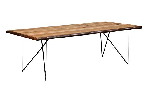 (Sutherson Live Edge Dining Table with Hair Pin Legs Natural Honey and Gunmetal)