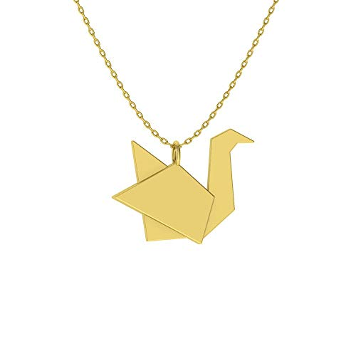 - Diamondere Natural and Certified Origami Swan Necklace in 14k Yellow Gold | Pendant with Chain