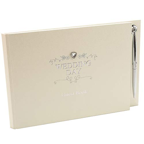 (Happy Homewares Ivory Wedding Day Guest Book in Silver Plated Text and Diamante Heart Jewel with Beautiful Floral Decoration Includes Silver Pen - Ideal Wedding)