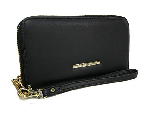 New BCBG Generation Logo Wristlet Wallet Purse Hand Bag Black Gold Allison ()