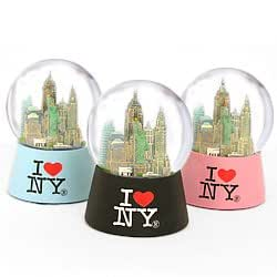New York City I Love NY Skyline Snow Globe NYC Souvenir from Snow Globes Collection (Pink, 45mm (2.5 Inches))