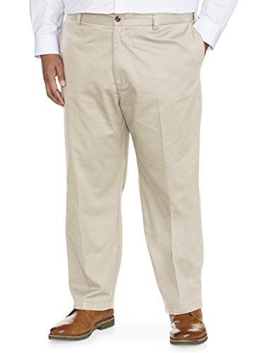 Amazon Essentials Men's Big & Tall Loose-fit Wrinkle-Resistant Flat-Front Chino Pant fit by DXL, Khaki, 46W x 32L Big And Tall Mens Pants
