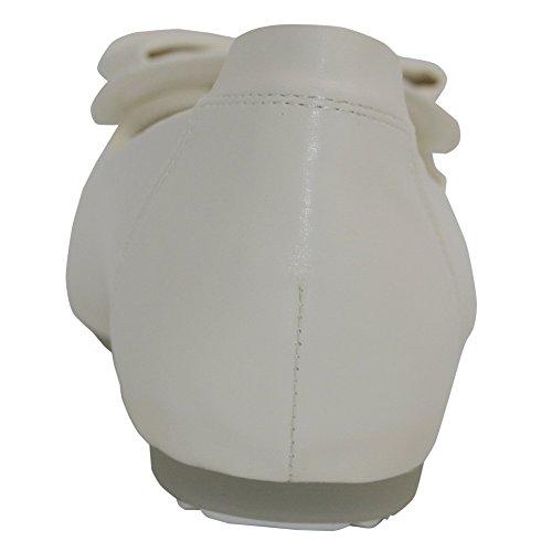 con en Pajarita Blanco Plano Punta AalarDom Puntera Material Suave Sólido cordones Colgantes Mujer Sin WxxCwvFq