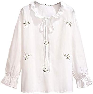 HWZZ Elegante Mujer Pajarita Camisa Blanca Otoño Moda Mujer Flare Camisa De Manga Larga Office Lady Camisa Coreana De Color Sólido,Blanco,3XL: Amazon.es: Deportes y aire libre