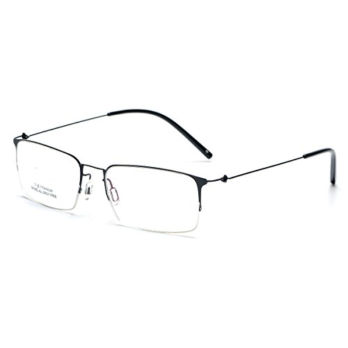 SO SMOOTH WIND Square Shape Glasses Frame Prescription Eyewear Frame S1101 (Black, Demo clear - Wire Square Glasses