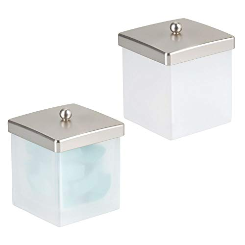 (mDesign Modern Glass Square Bathroom Vanity Countertop Storage Organizer Canister Jar for Cotton Swabs, Rounds, Balls, Makeup Sponges, Beauty Blenders, Bath Salts - 2 Pack - Clear Frost/Brushed )