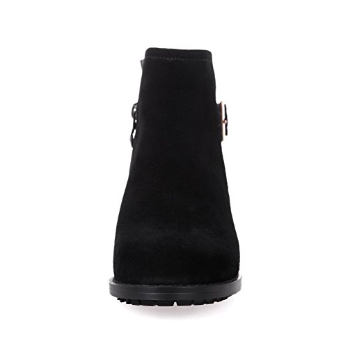 AmoonyFashion Womens Round-Toe Closed-Toe Low-Heels Boots With Slipping Sole and Chunky Heels Black 1N4dP