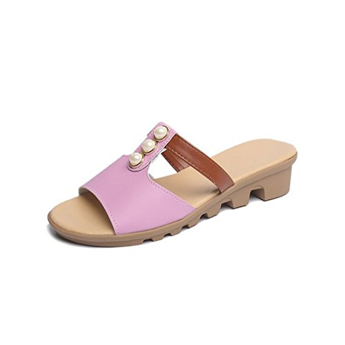 Womens Outdoor Leather Summer Beach Leather Casual Slippers 668 Pink DnGDZGAC