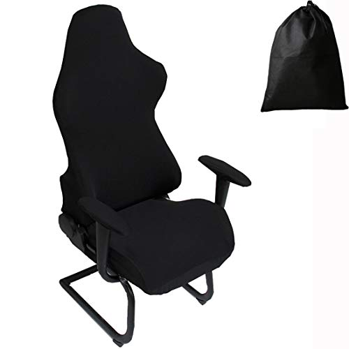 LJNGG Office Computer Game Chair Cover Armchair Elastic Stretch Swivel Seat Gaming Chair Protector Slipcover Arm Rest Cover (Black)