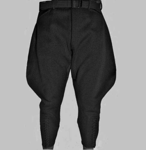 Men's Steampunk Pants & Trousers Styleandcraftry Mens Equestrian Sports Breeches Baggy Riding Black Pants $79.99 AT vintagedancer.com