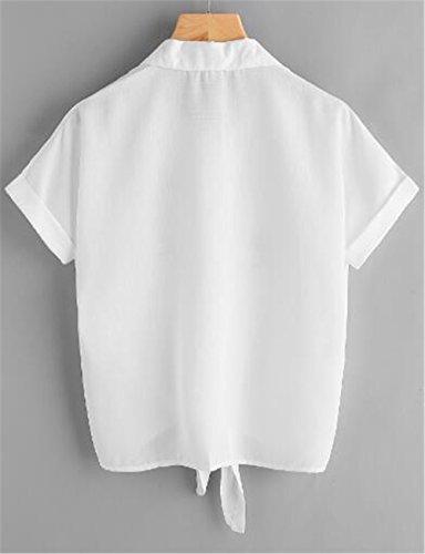 Femme Tunique Shirt Brod Chemises Gogofuture Chemises Courtes Mode White Haut Vogue T Manches Elegant Blouse Leger Revers Top zOPntqxOwv