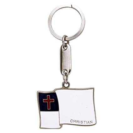 Amazon.com : Keychain CHRISTIAN FLAG : Sports Fan Keychains ...