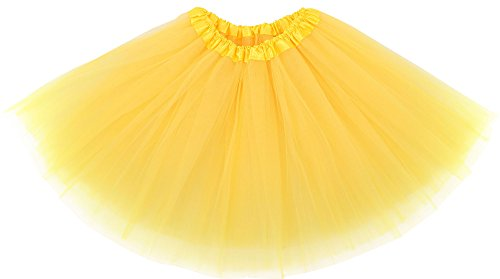 Simplicity Women's Classic Elastic, 3-Layered Tulle Tutu Skirt, Yellow, One Size -
