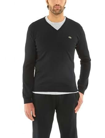 Lacoste Cotton Jersey Long Sleeve V-Neck Sweater (XL / EUR 7, Black)
