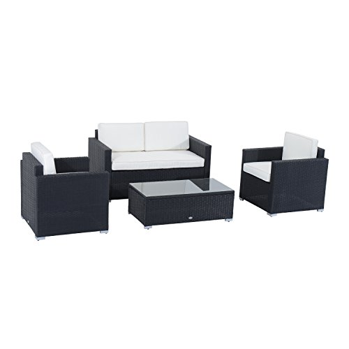 Outsunny 4pcs Rattan Wicker Sofa Set Outdoor Garden Patio Furniture with Cushion