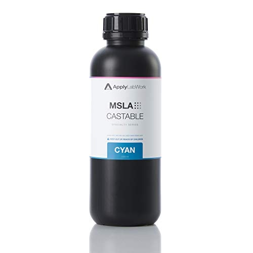 ApplyLabWork MSLA Specialty Resins for LCD Printers, Excellent Mechanical Properties, High Accuracy, No UV Post Curing, 1 Liter, Castable Cyan