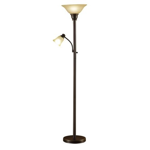 - Catalina Lighting 18223-002 Traditional Metal Torchiere Living Room Floor Lamp with Reading Light and Glass Shades, Bronze