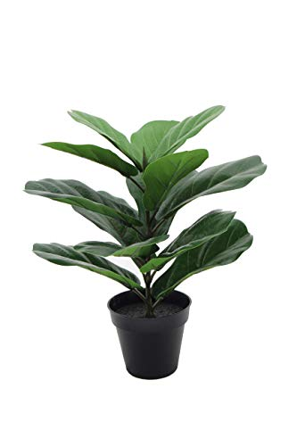LuckyGreenery Artificial Fiddle Leaf Fig, Realistic Fake Plants with Pots for Home and Office Decoration, 16in (H) x 14in (W)