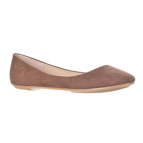 Riverberry Damen Aria Basic Geschlossene Runde Zehe Ballett Flache Slip On Shoe Braunes Wildleder
