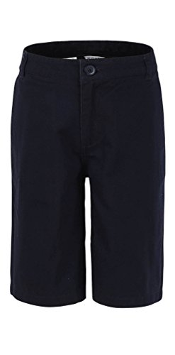 Bienzoe Big Boy's School Uniforms Flat Front Twill Bermuda Shorts Navy Size 10