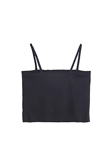 MakeMeChic Women's Sleeveless Tube Bandeau Cami Summer Crop Camisole Top Black One Size - Rib Crop