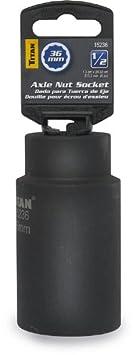 Titan 15234 34mm 1//2-Inch Drive 12-Point Axle Nut Socket